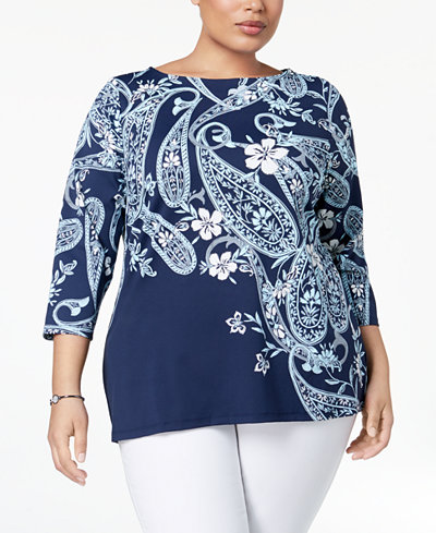 Charter Club Plus Size Boat-Neck Printed Top, Created for Macy's