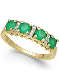 Emerald (1-1/5 ct. t.w.) & Diamond Ring (1/10 ct. t.w.) in 14k Gold