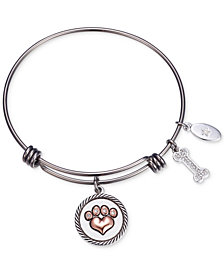 "Unwritten ""Love is a Four Legged Word"" Charm Adjustable Bangle Bracelet in Two-Tone Stainless Steel"