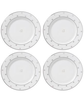 Larabee Road Platinum Monogram Tidbit Plates, Set of 4