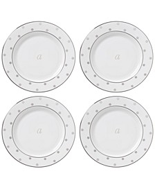 Larabee Road Platinum Monogram Tidbit Plates, Set of 4