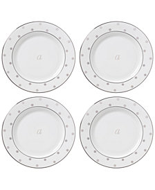 kate spade new york Larabee Road Platinum Monogram Tidbit Plates, Set of 4