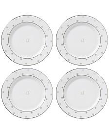 kate spade new york Larabee Road Platinum Monogram Tidbit Plates, Set of 4