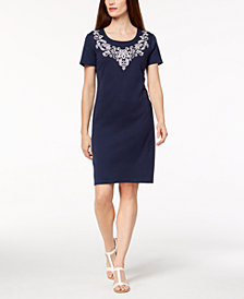 Karen Scott Printed Scoop-Neck T-Shirt Dress, Created for Macy's