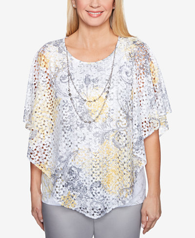 Alfred Dunner Charleston Lace Necklace Top