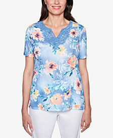 Alfred Dunner Sun City Embroidered Split-Neck Top