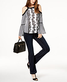 I.N.C. Cold-Shoulder Top & Bootcut Jeans, Created for Macy's