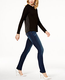 I.N.C. Mixed-Media Top & Skinny Jeans, Created for Macy's