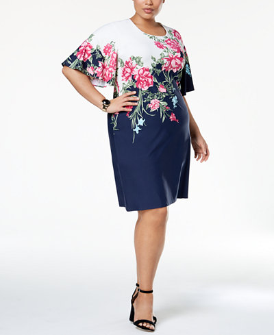 Charter Club Plus Size Flutter-Sleeve Printed Dress, Created for Macy's