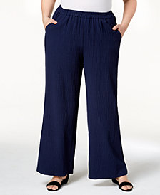 JM Collection Plus Size Textured Wide-Leg Pants, Created for Macy's