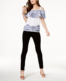 I.N.C. Embroidered Top & Skinny Jeans, Created for Macy's
