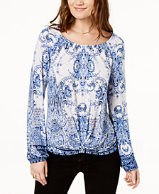I.N.C. Printed Knot-Front Blouson Top, Created for Macy's