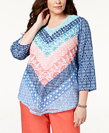 Alfred Dunner Plus Size Sun City Embellished Top