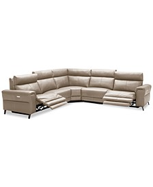 "Raymere 122"" 5-Pc. Leather Sectional Sofa With 2 Power Recliners, Power Headrests And USB Power Outlet, Created for Macy's"