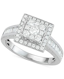 Diamond Square Cluster Engagement Ring (1 ct. t.w.) in 14k White Gold