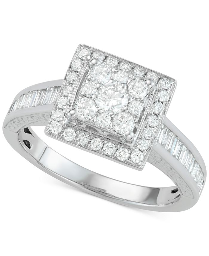Centennial - Diamond Square Cluster Engagement Ring (1 ct. t.w.) in 14k White Gold