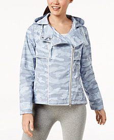 Calvin Klein Performance Spectator Printed Asymmetrical-Zip Hooded Jacket