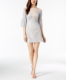 foxiedox Bell-Sleeve Lace Illusion Dress