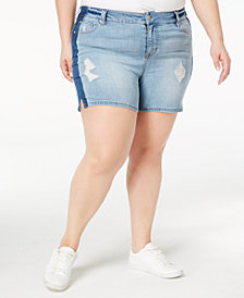 Celebrity Pink Plus Size Distressed Denim Shorts