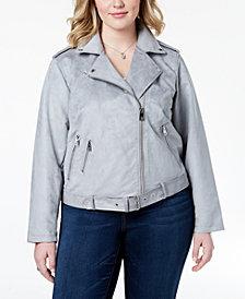 Levi's® Plus Size Faux-Suede Belted Moto Jacket