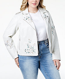 Levi's® Plus Size Embroidered Faux-Leather Moto Jacket