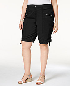 Style & Co Plus Size Zippered Cargo Shorts, Created for Macy's