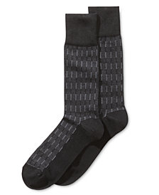 Perry Ellis Men's Textured Striped Dress Socks