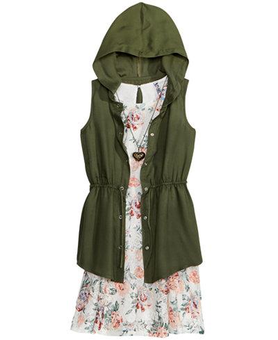 Beautees 2-Pc. Anorak & Floral-Print Dress, Big Girls