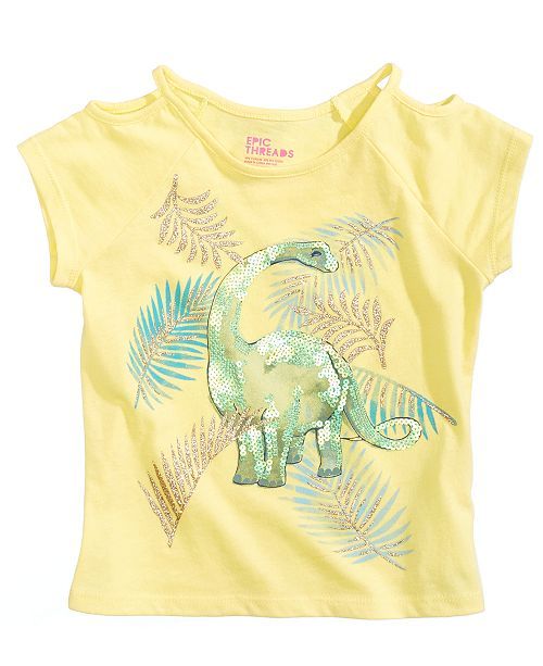 32bc041c0b51 Epic Threads Sequin Dino Graphic-Print T-Shirt, Little Girls, Created for