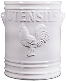 Home Essentials White Rooster Utensil Crock