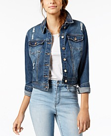 Juniors' Ripped Dark Wash Denim Jacket