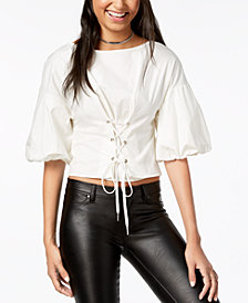 Material Girl Juniors' Balloon-Sleeved Corset-Front Crop Top, Created for Macy's