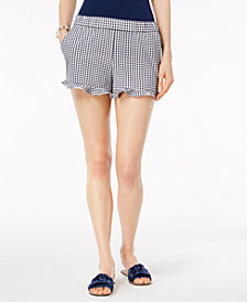 Maison Jules Ruffled Gingham-Plaid Shorts, Created for Macy's