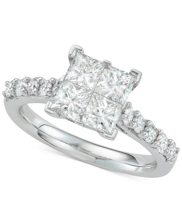 Macy's Diamond Princess Engagement Ring (2 ct. t.w.) in 14k White Gold