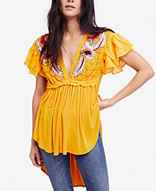 Free People Fiesta Nueva Embroidered Open-Back Top