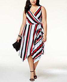 I.N.C. Plus Size Striped Wrap Dress, Created for Macy's