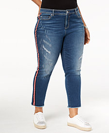 I.N.C. Plus Size Cropped Racing-Stripe Jeans, Created for Macy's