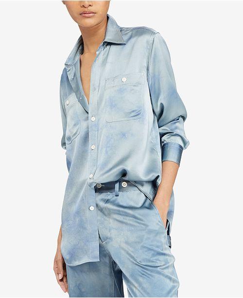 9412ebf58fd01 Polo Ralph Lauren Tie-Dye Silk Shirt   Reviews - Tops - Women ...