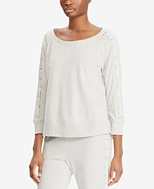 Lauren Ralph Lauren Lace-Up-Sleeve French Terry Top