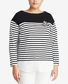 Lauren Ralph Lauren Plus Size Layered-Look Striped Cotton Sweater