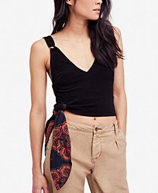 Free People Paisley-Contrast Tie-Hem Top