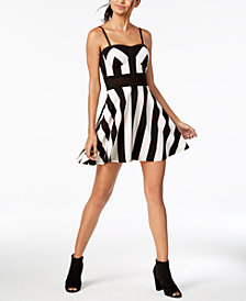 Material Girl Juniors' Striped Illusion Fit & Flare Dress, Created for Macy's