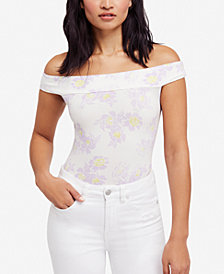 Free People So Much Off-The-Shoulder Floral-Print Bodysuit