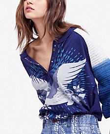 Free People Tranquility Cotton Graphic Crochet-Sleeve Top