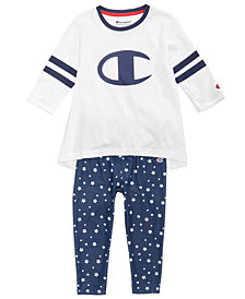 Champion Heritage Logo-Print Rugby T-Shirt & Star-Print Leggings, Little Girls