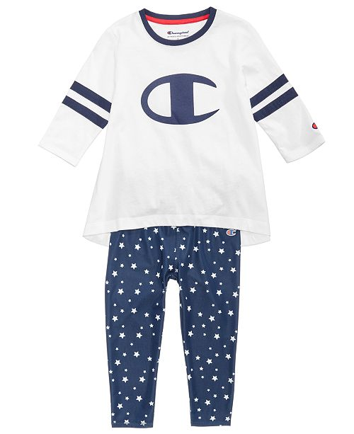 585ad093ac32 Champion Heritage Logo-Print Rugby T-Shirt & Star-Print Leggings, Little