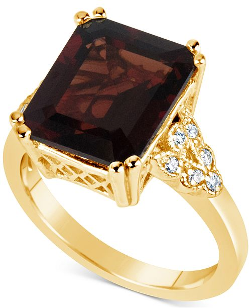 Macy's Rhodolite Garnet (8 ct. t.w.) & Diamond (1/10 ct. t.w.) Ring in 14k Gold