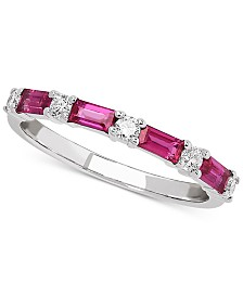 Certified Ruby (5/8 ct. t.w.) & Diamond (1/5 ct. t.w.) Band in 14k White Gold