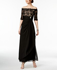 Petite Ruched Off-The-Shoulder Gown