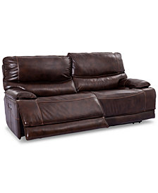 "Woodyn 90"" 2-Pc. Leather Power Reclining Sofa With 2 Power Recliners, Power Headrests, Lumbar And USB Power Outlet"